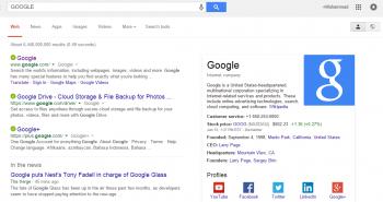 قوقل تعرض الحسابات الاجتماعية للشركات في صفحة نتائج البحث