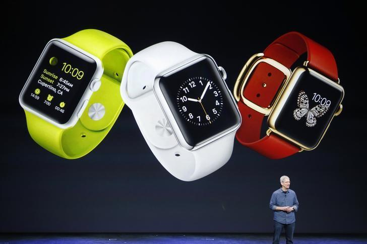 ccd980d96 Apple CEO Tim Cook speaks about the Apple Watch during an Apple event at  the Flint