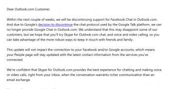 مايكروسوفت توقف تكامل دردشة فيس بوك و قوقل مع بريد اوتلوك