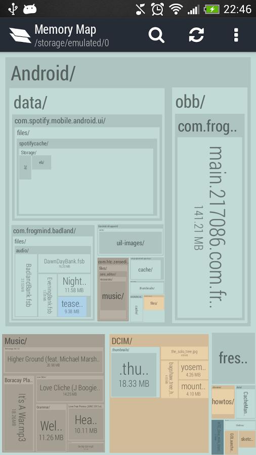 Memory Map لمعرفة أي الملفات إستهلاكاً لمساحة التخزين على أندرويد