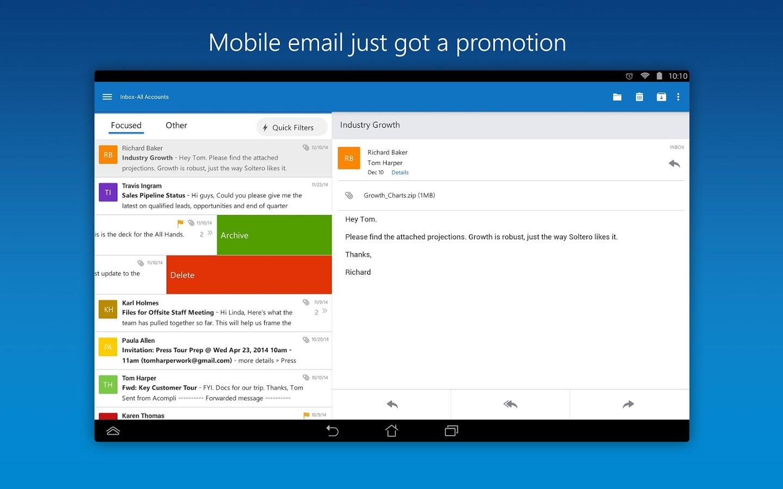 مايكروسوفت تطلق تحديث لتطبيقها Outlook على نظامي أندرويد و iOS