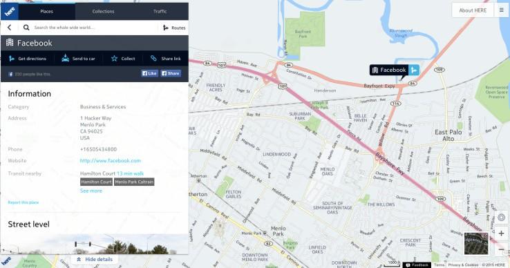 خرائط نوكيا HERE فيسبوك