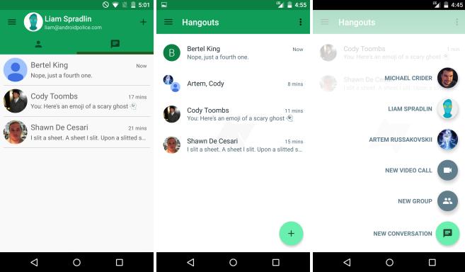 نظرة خاطفة عن التحديث القادم لتطبيق Hangouts 4.0