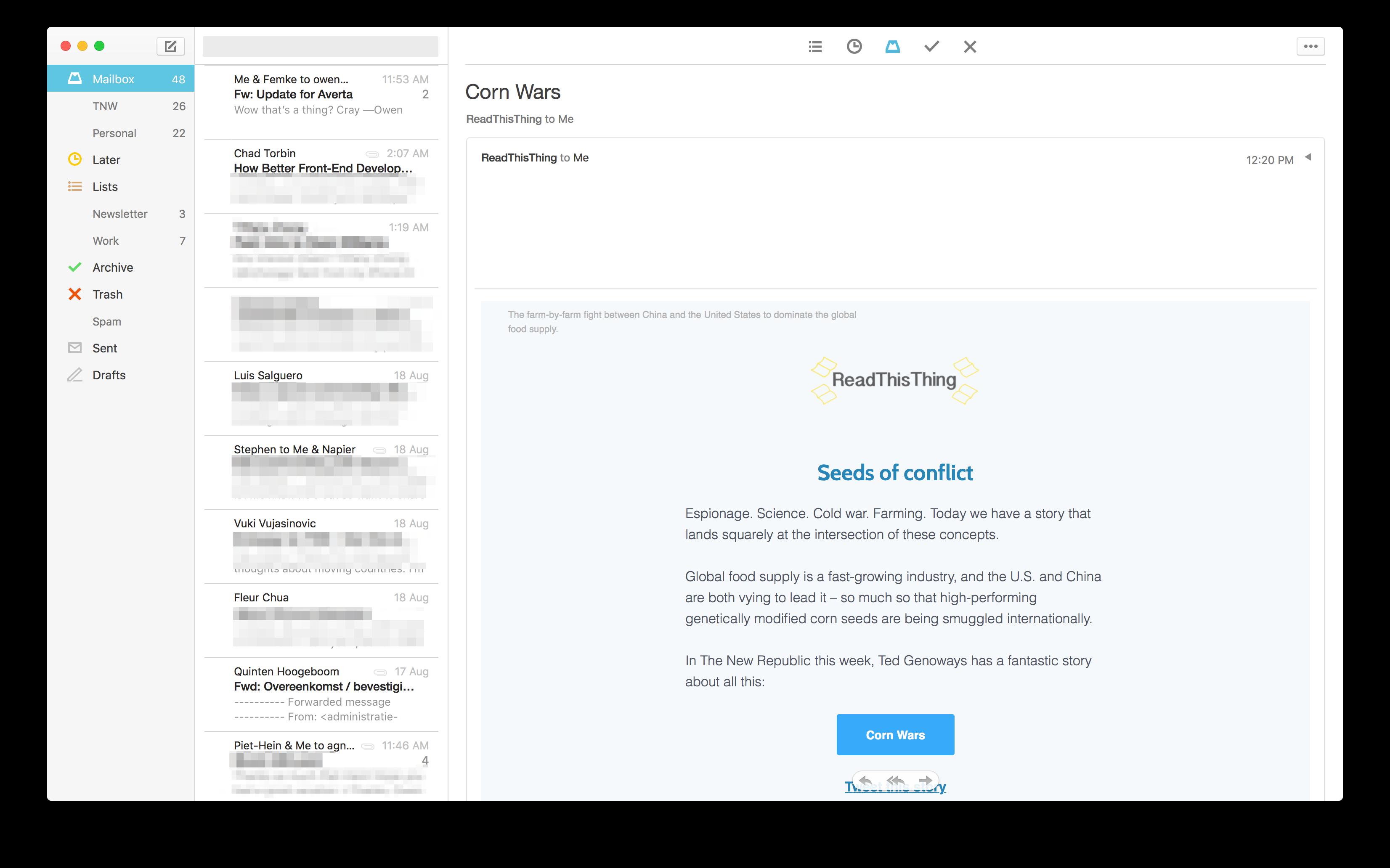 تحديث Mailbox على نظام ماك يجلب تصميم جديد وعدد من التحسينات