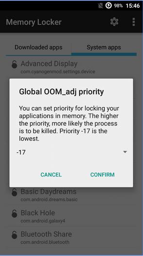 Memory Locker على أندرويد لمنع قتل التطبيقات من قبل مدير الرام