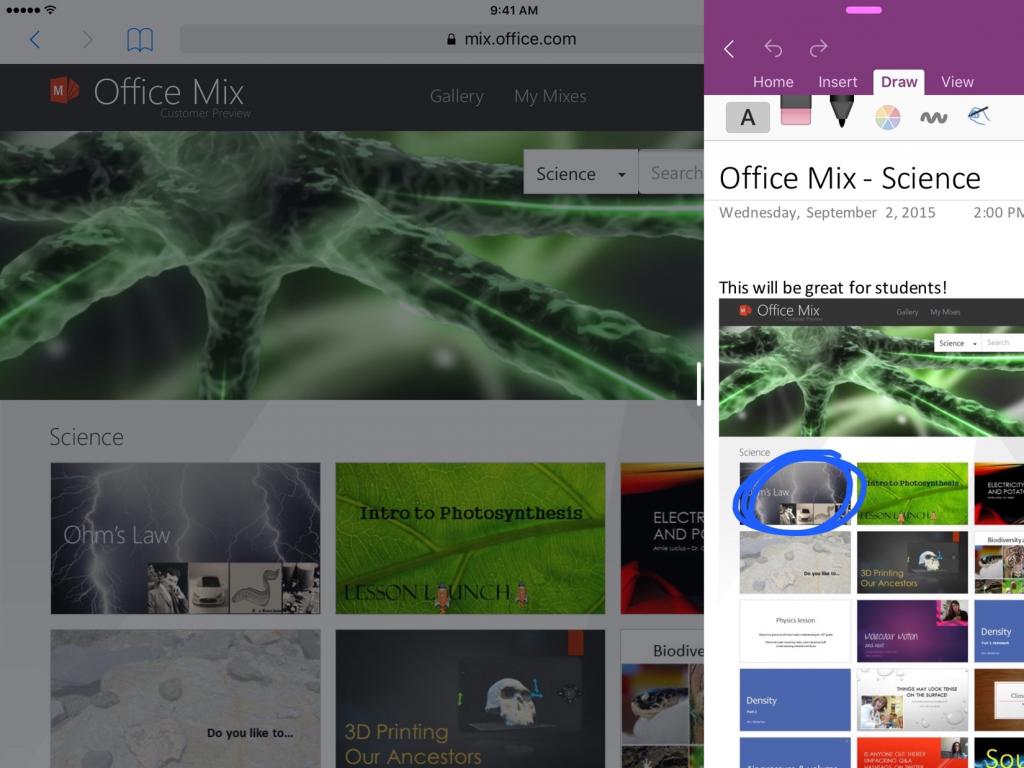 OneNote يجلب خاصية تعدد المهام في نظام iOS 9 وآيباد برو