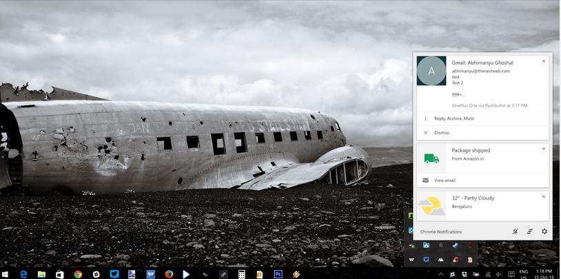 Chrome's desktop notification center