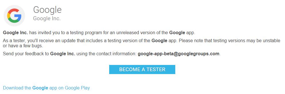 قوقل تتيح النسخة التجريبية لتطبيق Google الرسمي للتحميل