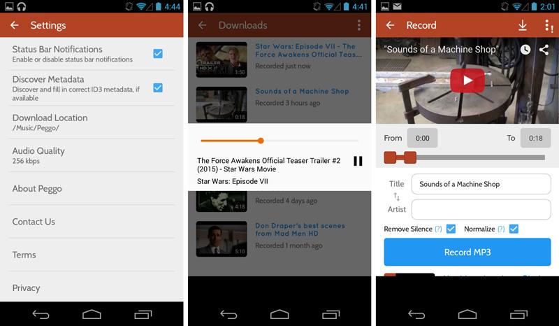 Peggo لتسجيل مقاطع اليوتيوب لصيغة MP3 متاح الآن على أندرويد