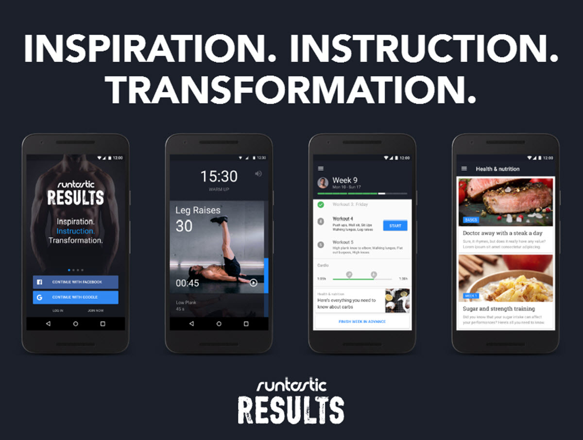 تطبيق اللياقة البدنية Results Training من Runtastic مفيد وعملي جدا