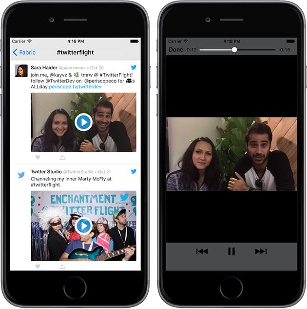 مشغل فيديو تويتر يعمل على تطبيقات الطرف الثالث