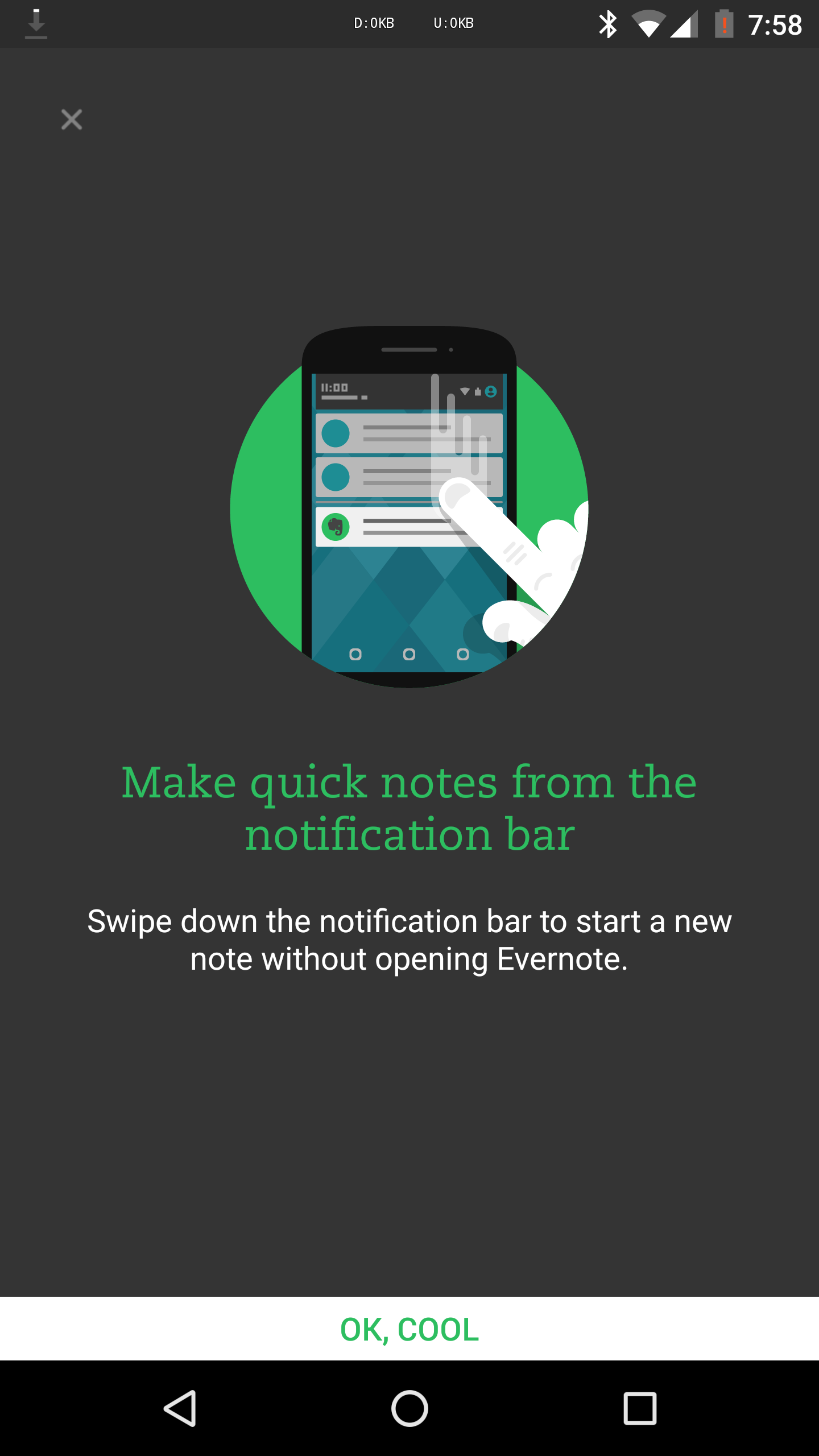 تطبيق Evernote يجلب خاصية الملاحظات السريعة في شريط الإعلام