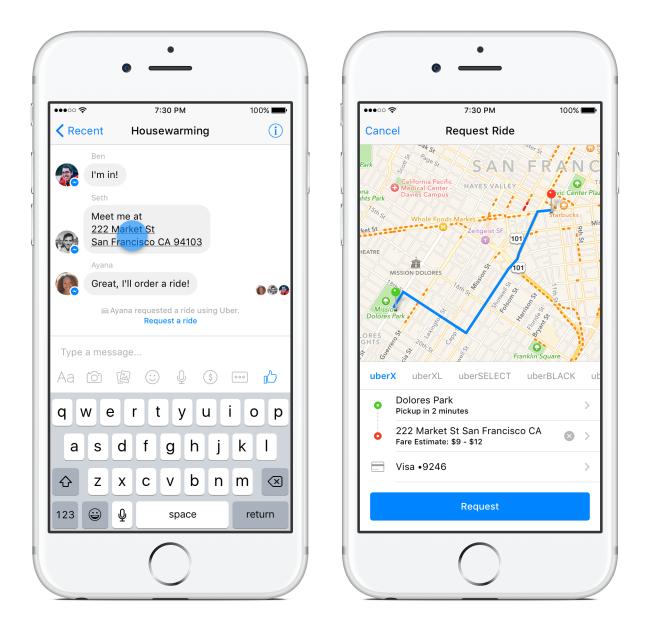 يمكنك طلب سيارات Uber عن طريق فيسبوك ماسنجر