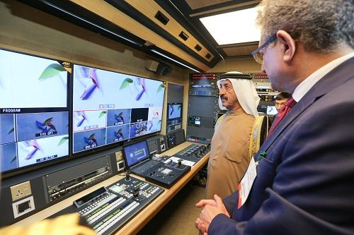His Highness Sheikh Hasher Bin Maktoum Al Maktoum, Director General of Dubai's Department of Information, touring CABSAT 2016
