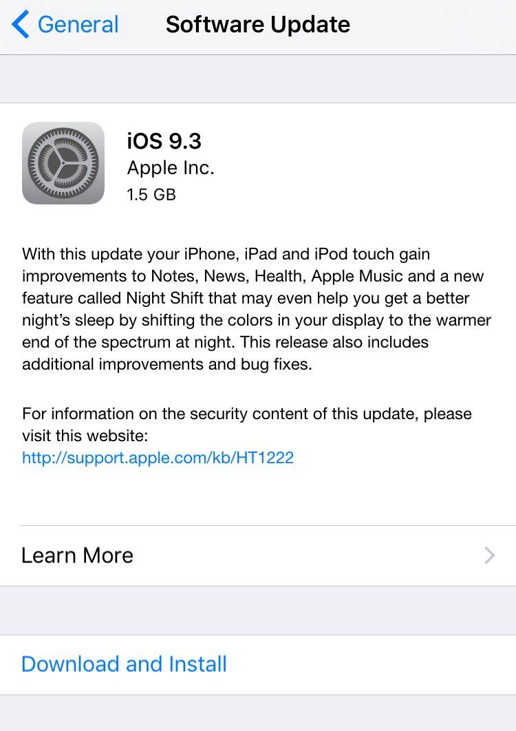 آبل تطلق تحديث iOS 93