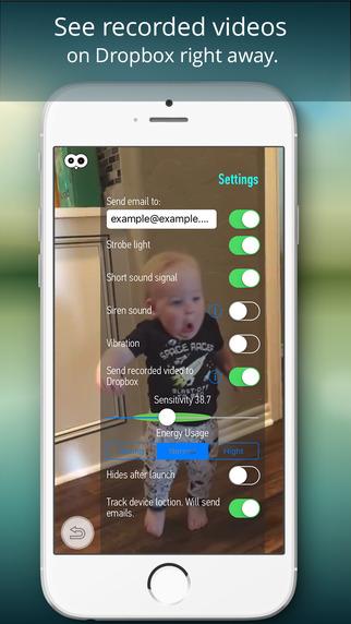 Motion sensor على iOS للتسجيل الفيديو الفوري أثناء حركة في المكان