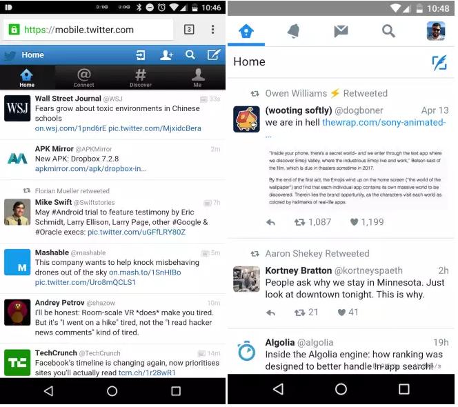 تويتر تختبر تصميم ماتيريال ديزاين على موقعها للهواتف الذكية