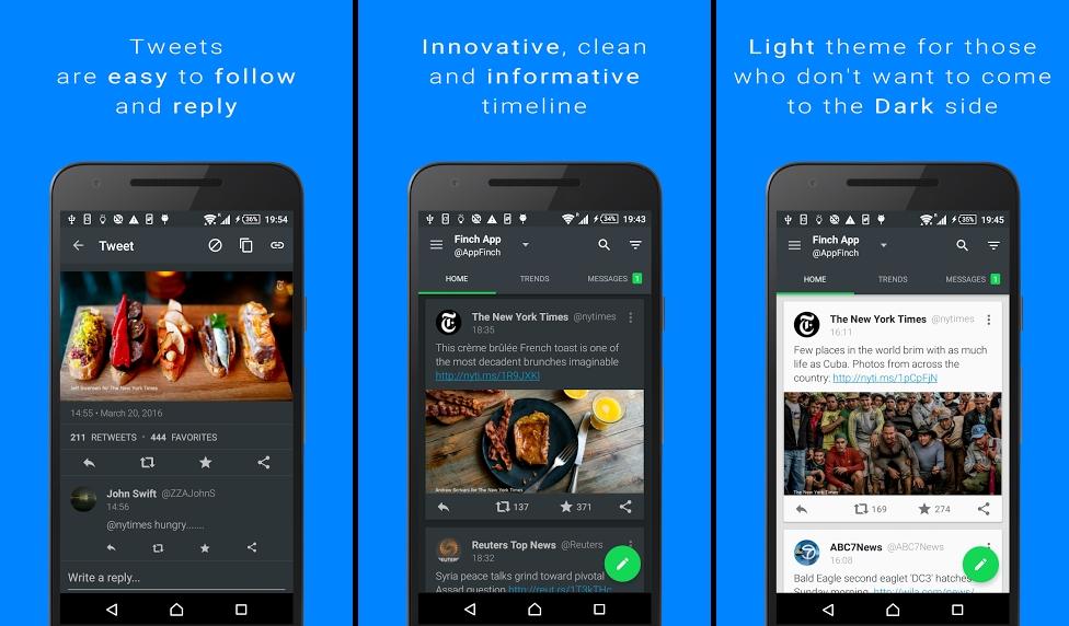تطبيق Finch على أندرويد لتصفّح تويتر وإدارة عدة حسابات وأكثر