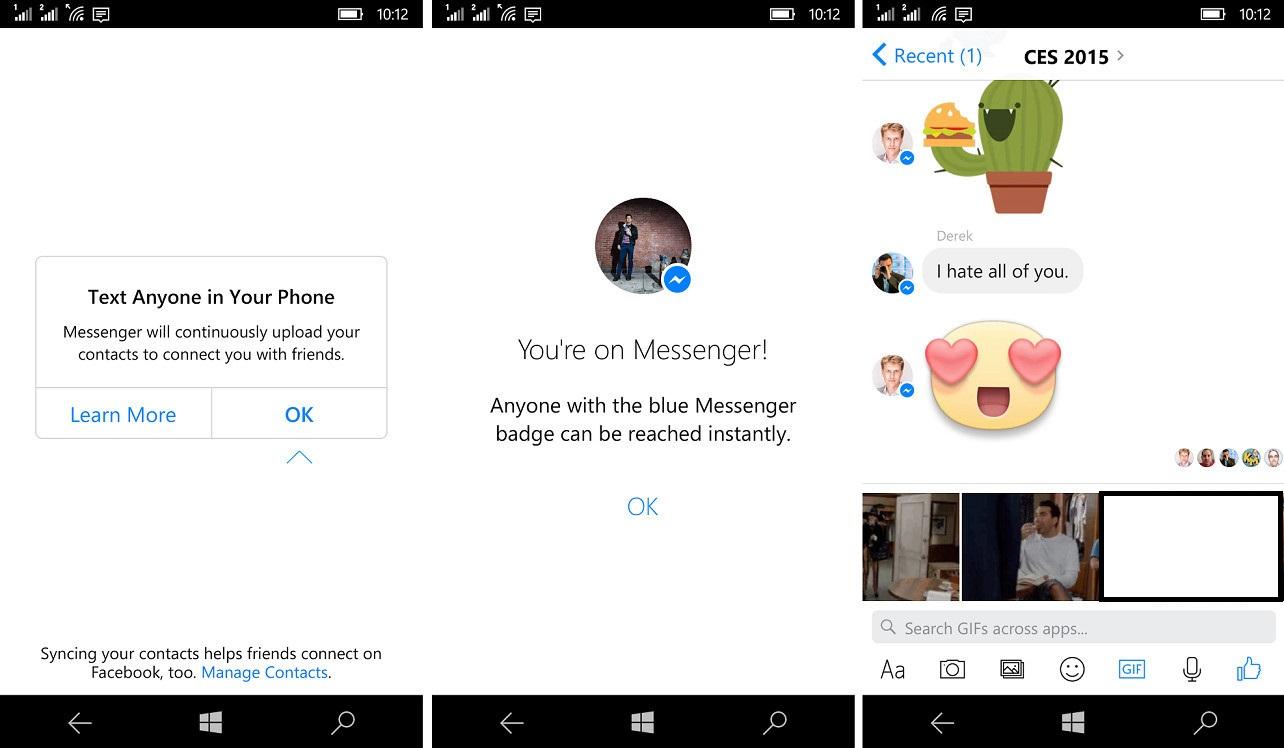 فيسبوك ماسنجر متاح الآن على نظام ويندوز 10 موبايل بنسخة تجريبية