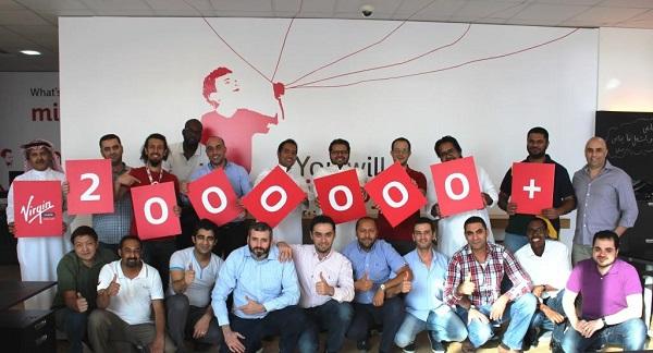 احتفال فريق فيرجن موبايل الرياض بالوصول لـمليونين مشترك