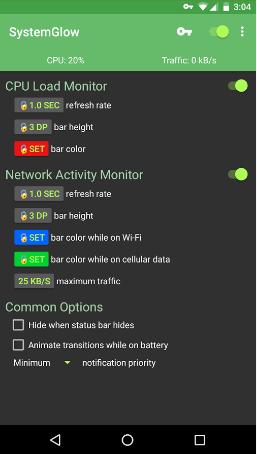 تطبيق SystemGlow للإستعلام عن قوة الشبكة وحالة وحدة CPU للهاتف