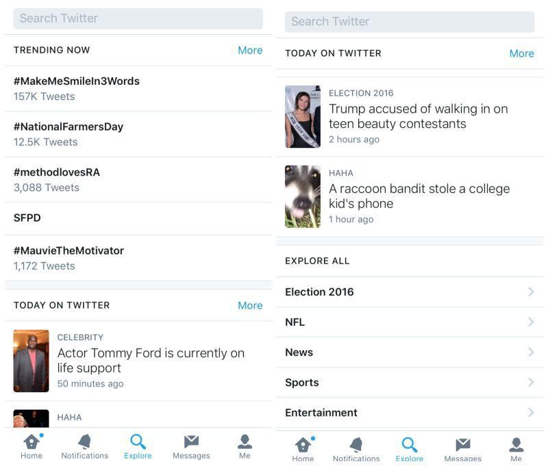 تويتر اللحظات الاستكشاف