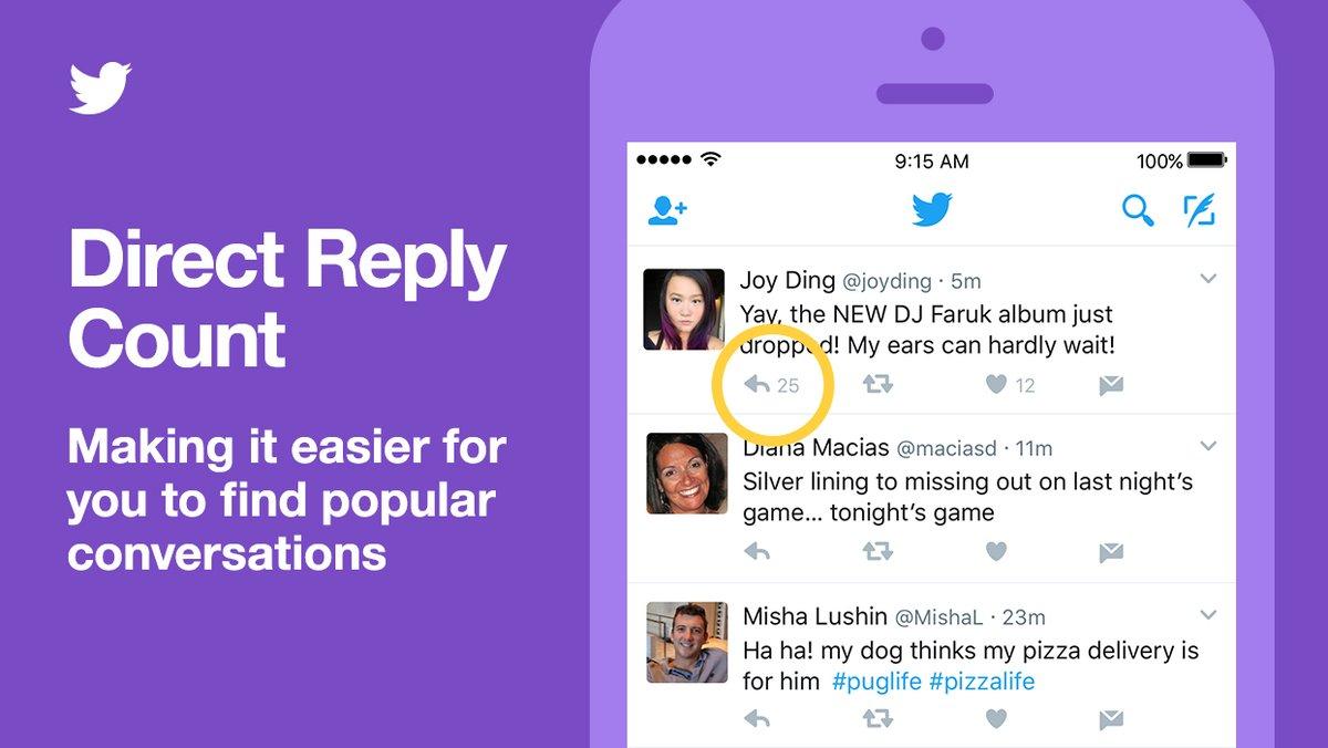 تويتر تضيف عدد الردود المباشرة للتطبيق على أندرويد و iOS