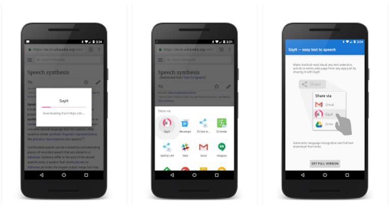 تطبيق SayIt لقراءة أي نص من على هاتفك الأندرويد