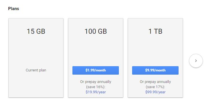 قوقل درايف يُضيف التسعير السنوي وتخفيضات لخطط 100GB و 1TB