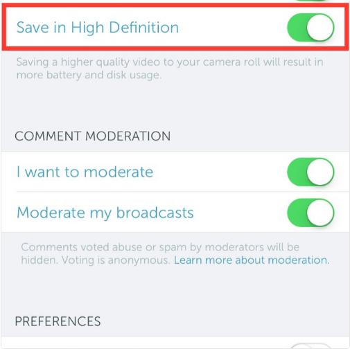 بريسكوب يدعم الآن حفظ نسخة عالية الوضوح للبث على iOS
