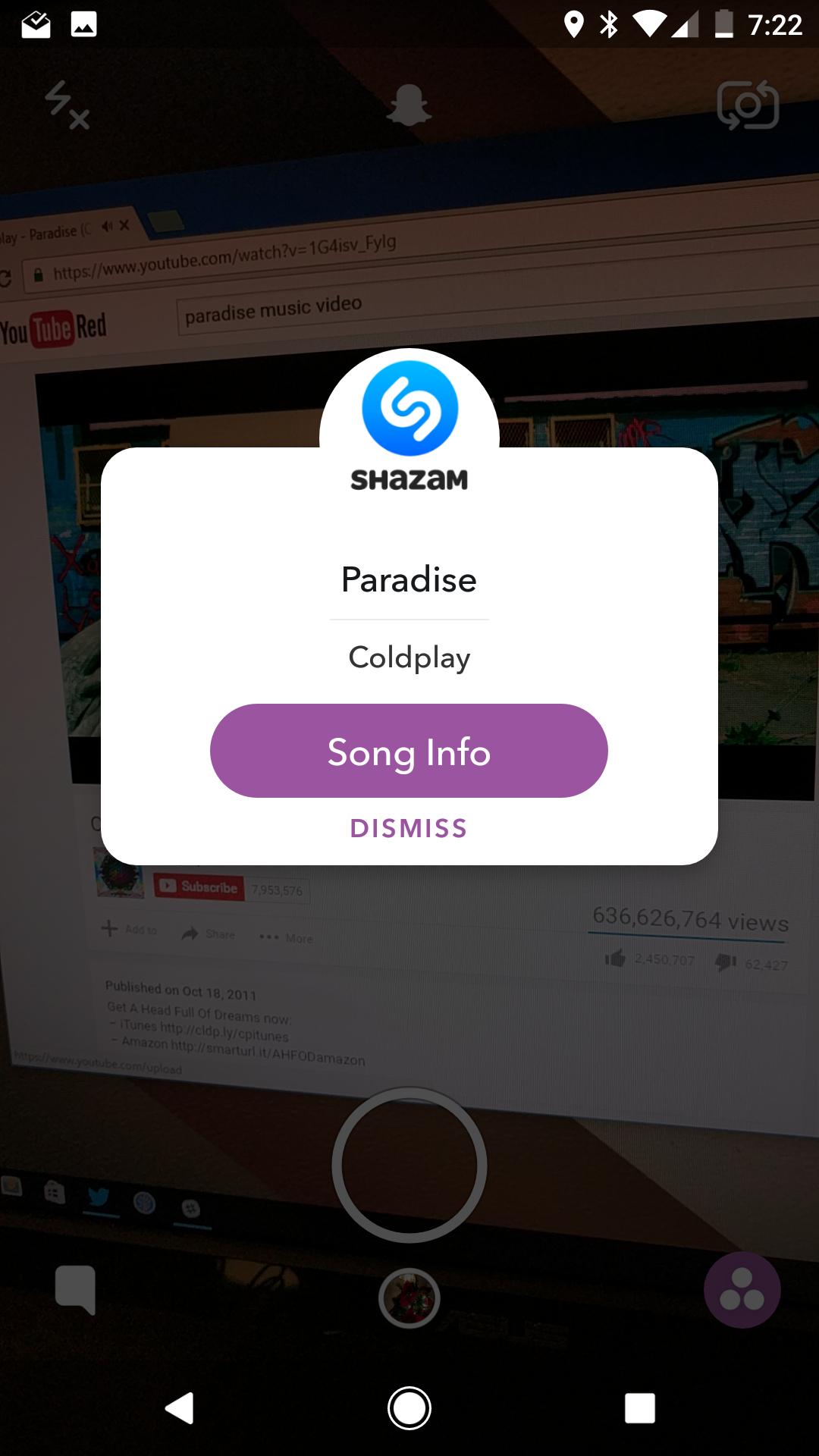 سناب شات يدعم التكامل مع خدمة Shazam في أندرويد