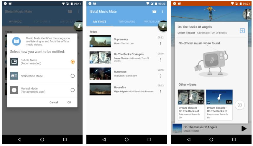 تطبيق Music Mate يجد لك فيديو الموسيقى التي تستمع لها