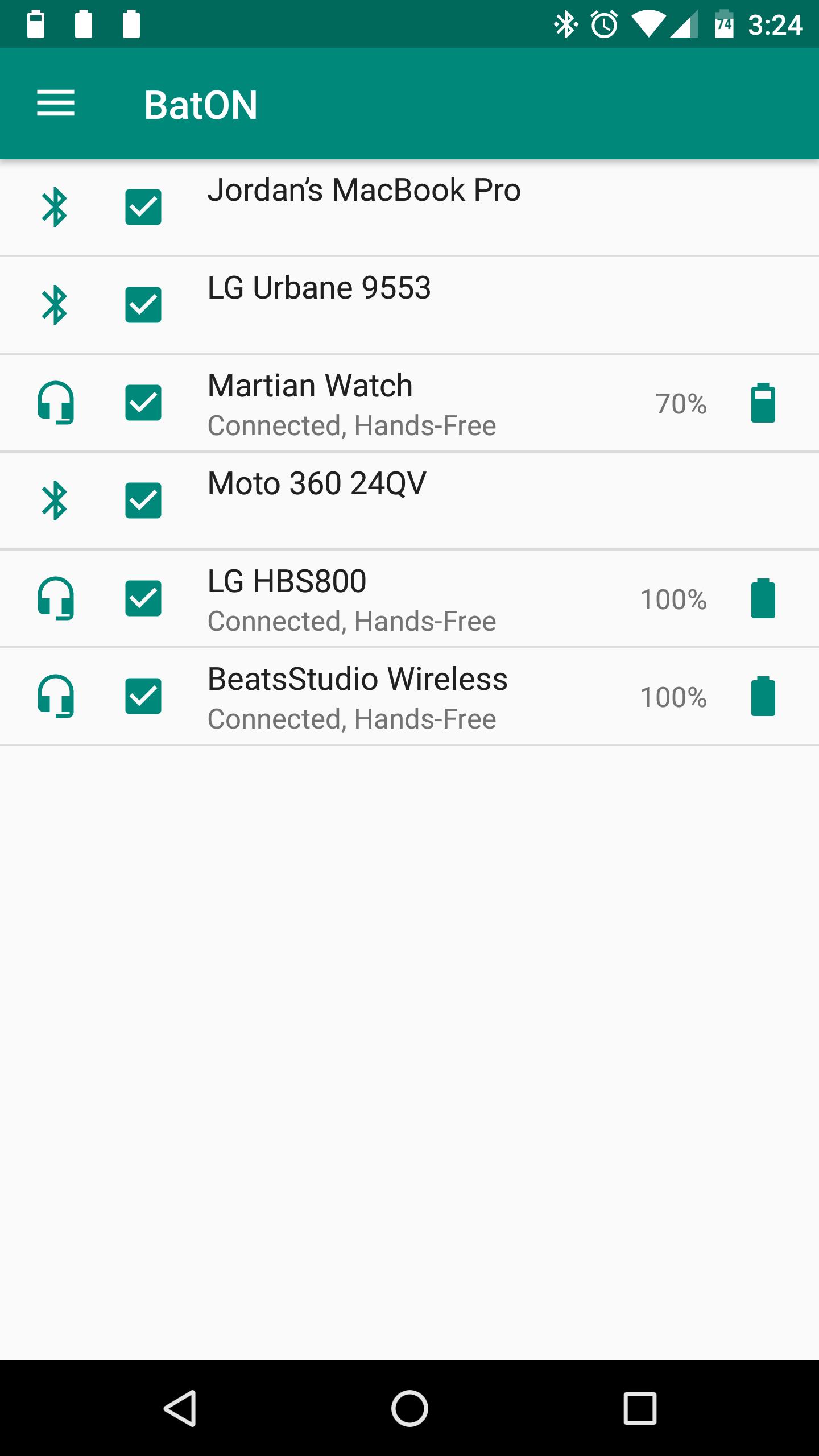 تطبيق BatON يعرض لك مستوى البطارية للأجهزة المتصلة بتقنية البلوتوث