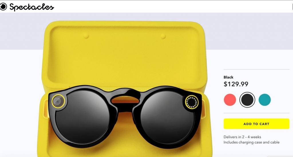 سناب شات تبدأ ببيع نظارات Spectacles على الإنترنت