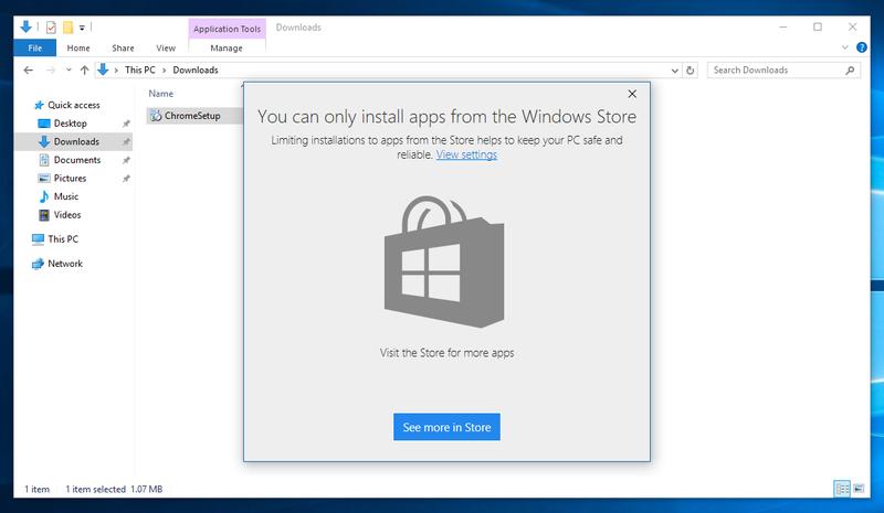ويندوز 10 يتيح منع تنزيل البرامج والتطبيقات من خارج المتجر