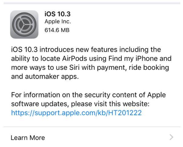 آبل ترسل تحديث iOS 10.3 مع نظام ملفات جديد
