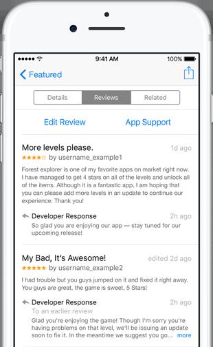 آبل تسمح للمطورين بالرد على التقييمات في متجر التطبيقات