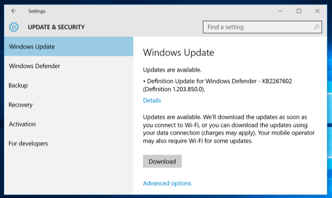 Windows 10 will push some updates over limited data plans