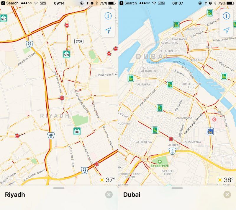 خرائط آبل تضيف بيانات حركة المرور في السعودية والامارات