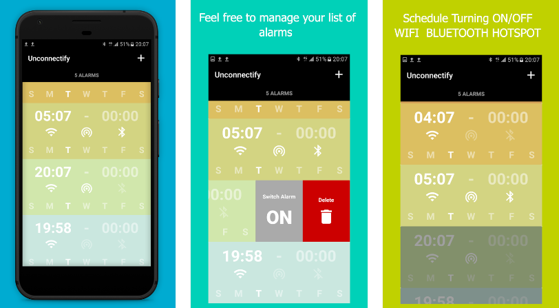 تطبيق Unconnectify لإنشاء تذكير بتعطيل خدمات الإتصال في أندرويد