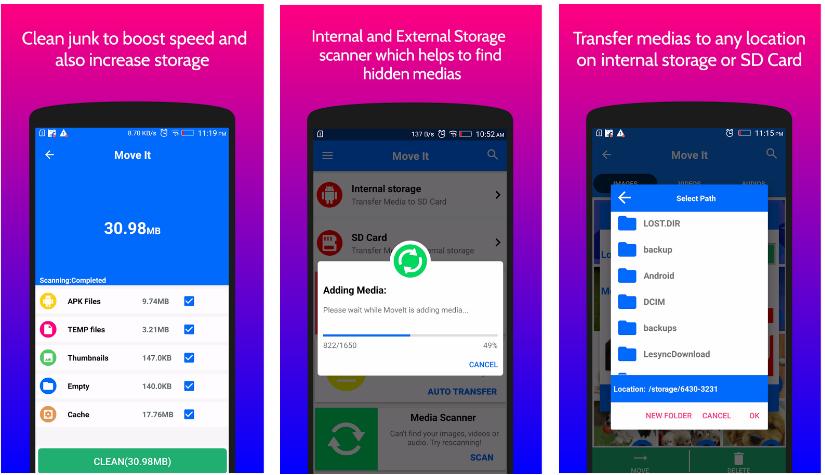 تطبيق MoveIt لإدارة الصور والفيديوهات لبطاقة SD والعكس