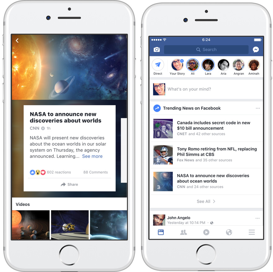 الأخبار الشائعة Trending بحلّة جديدة داخل تطبيق فيسبوك