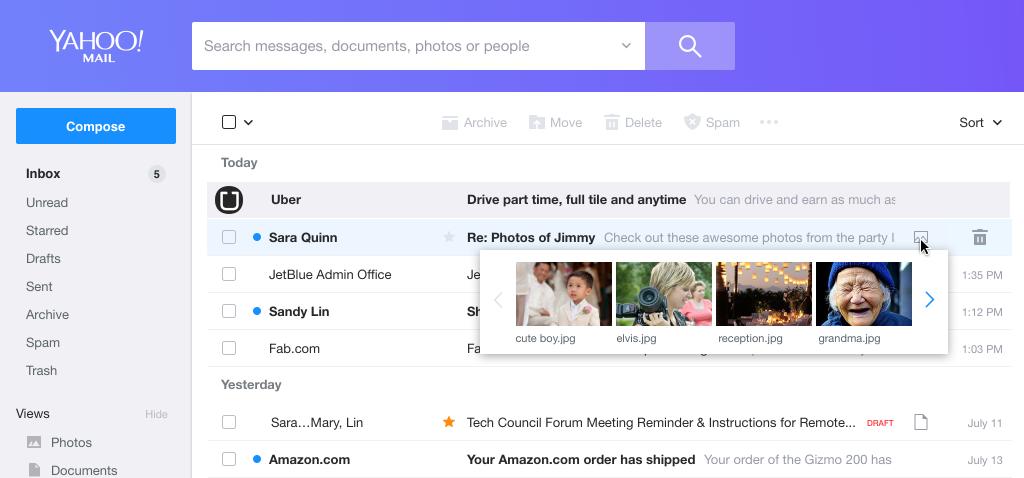 بريد ياهو Yahoo Mail بواجهات جديدة وأدوات لتنظيم الرسائل بسرعة أكبر