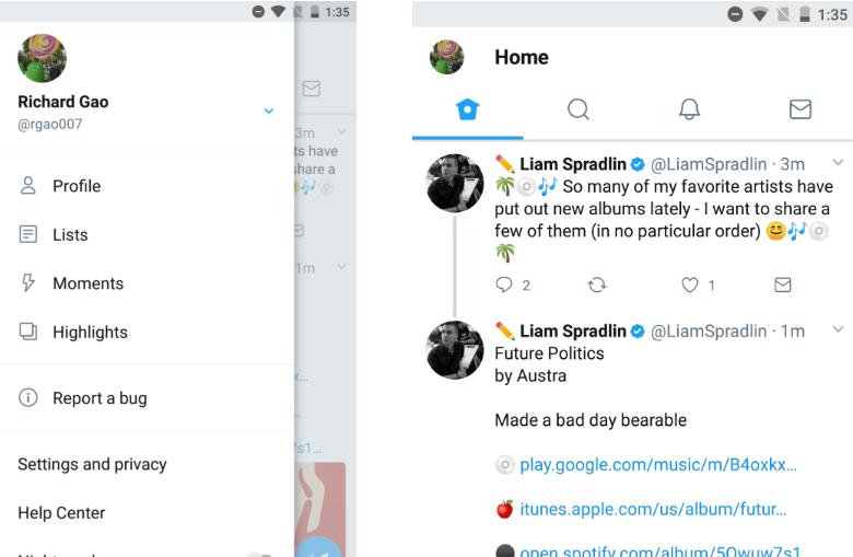مستخدمو تطبيق تويتر بيتا يشاهدون الآن تصميمًا جديدًا أكثر تنوعًا