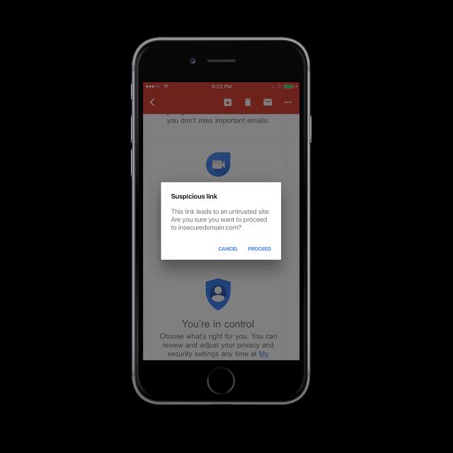 جيميل على iOS يدعم الآن التحذير من المواقع المشبوهة