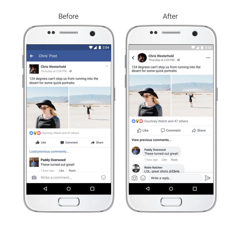 فيس بوك تعدل تصميم تطبيقها ليصبح أبسط