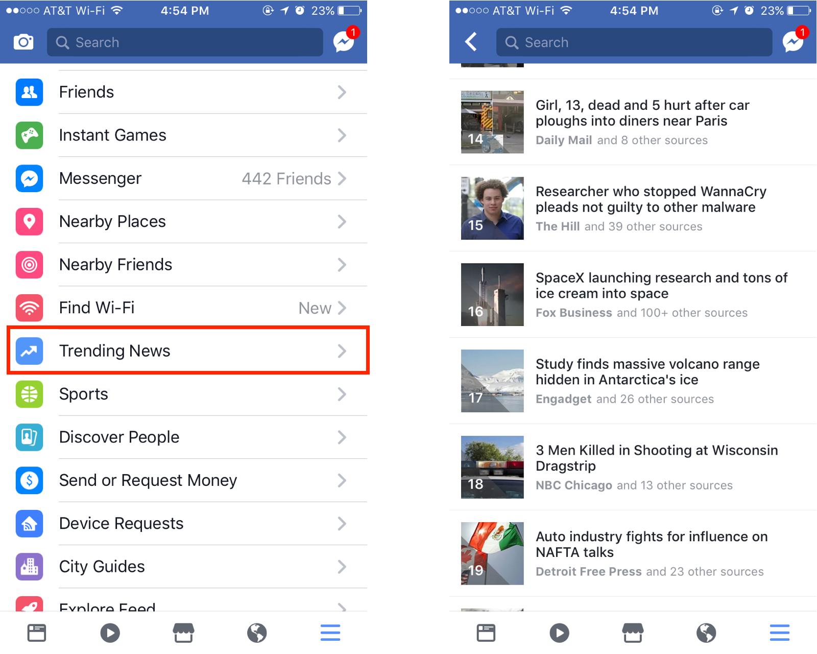 آخر الأخبار Trending News بحلّة جديدة في تطبيق فيسبوك