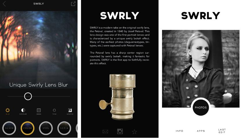 تطبيقالكاميرا SWRLY على iOS والذي يُحاكي عدسةPetzval