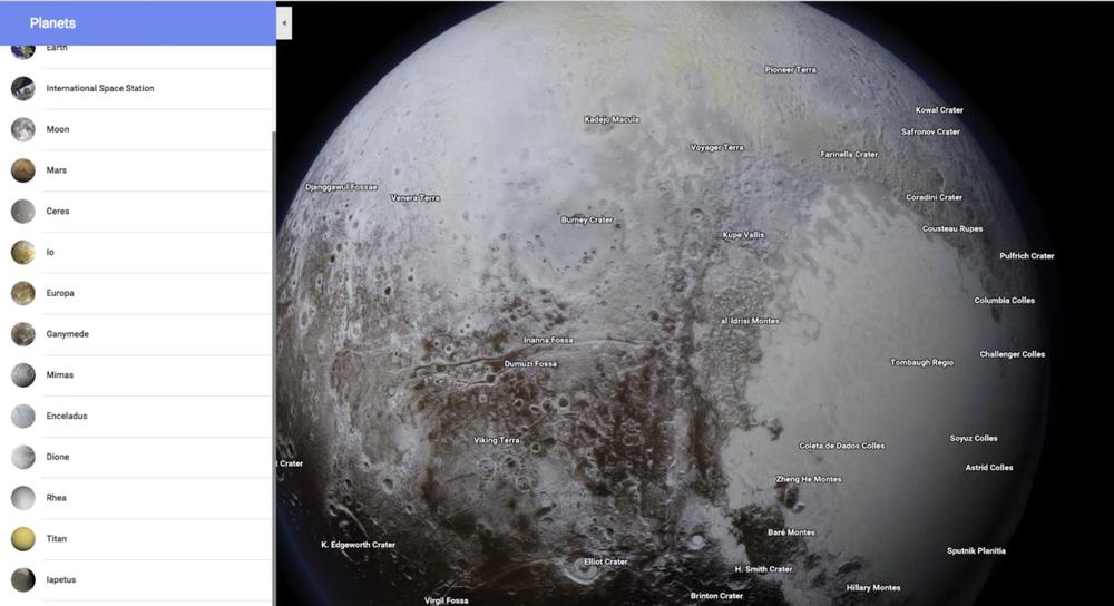 خرائط قوقل تدعم تصفح العديد من الكواكب والأقمار