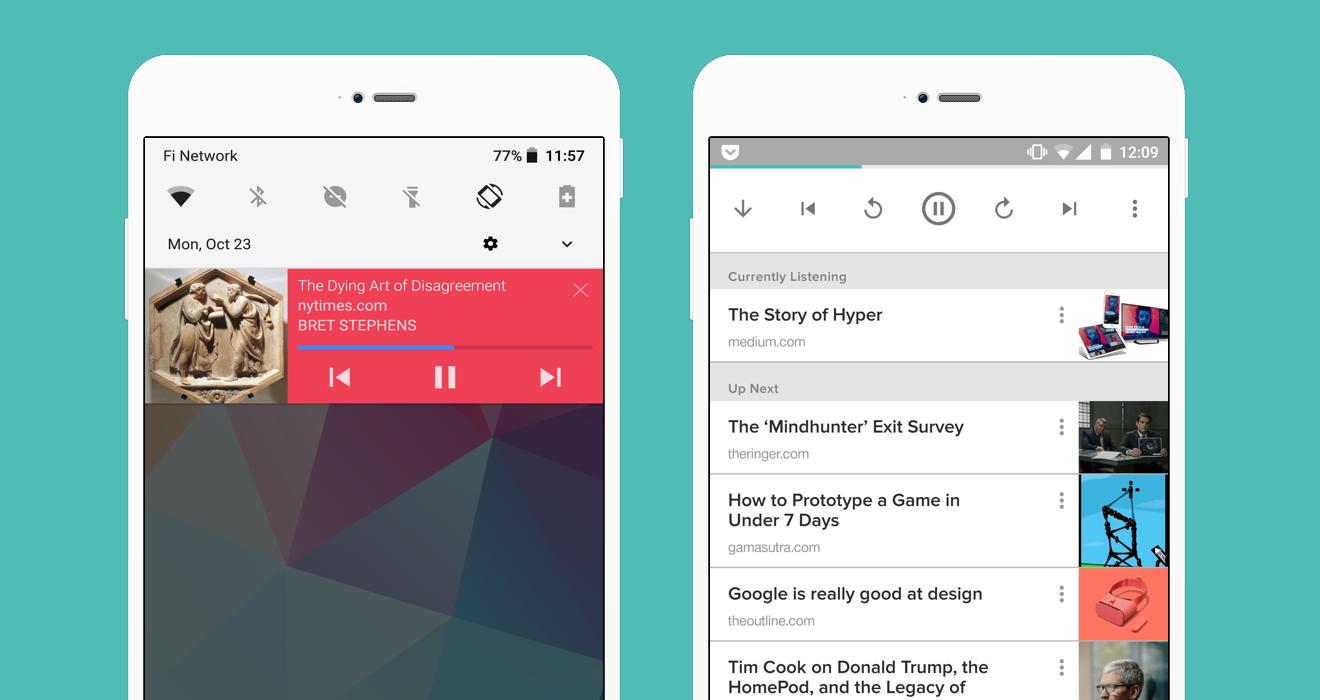 تحديثPocket يدعم الآن قراءة المقالات صوتيا دون الحاجة للمس